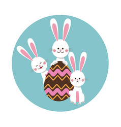 group bunnies egg chocolate vector image