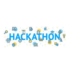 hackathon concept card poster paper art design vector image