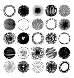 hand drawn circle line sketch set vector image