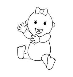 Happy smiling female baby icon image vector