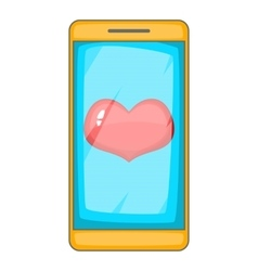 Heart on phone screen icon cartoon style vector image