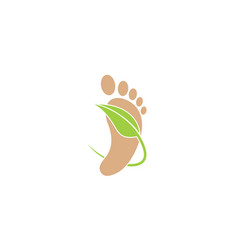 Human foot leaf logo vector