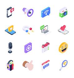 Isometric icons social media vector