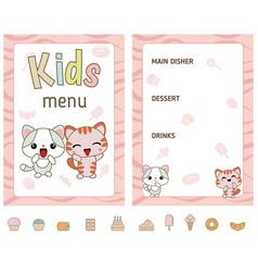 kids menu design kids menu design vector image