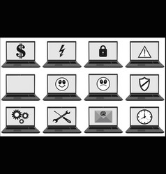 laptops set with different symbols and signs vector image