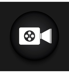 Modern videocamera black circle icon vector