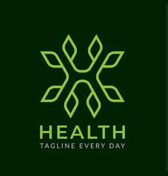 Monogram leaf h logo design vector