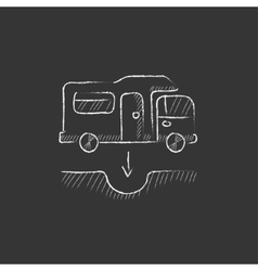 Motorhome and sump Drawn in chalk icon vector