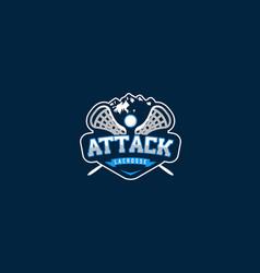 Mountain lacrosse attack logo design vector