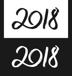 new year 2018 greeting card in black and white vector image