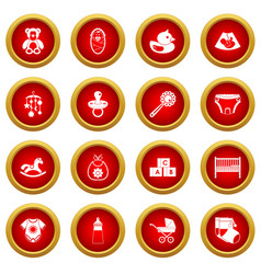 Newborn icon red circle set vector