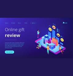 Online gift review isometric 3d landing page vector