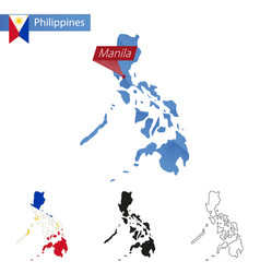 Philippines blue low poly map with capital manila vector