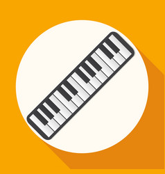 piano icon on white circle with a long shadow vector image