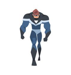 Powerful man superhero character in blue costume vector