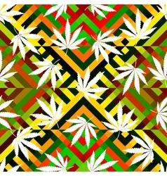 Rastafarian colors pattern and grunge hemp leaves vector
