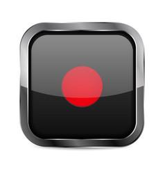 Record button black glass 3d icon vector