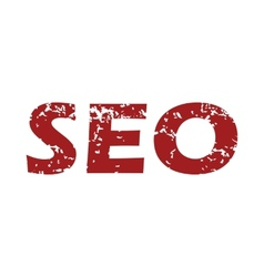 Red grunge seo logo vector image