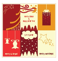 Red Xmas gift cards vector