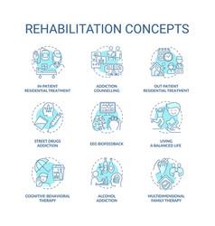 Rehabilitation concept icons set vector