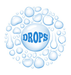 round wet water drops vector image