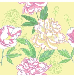 Seamless pattern with color peonies vector image