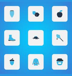 Seasonal icons colored set with coat honey apple vector