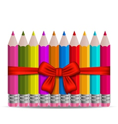 Set colorful pencils decorated bow on white vector