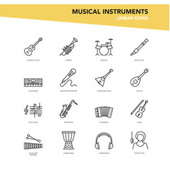 set linear icons - musical instruments vector image