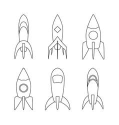 set of coloring sketch rocket ship vector image