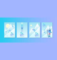 set of ski resort posters vector image