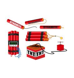 set realistic dynamite with burning wick vector image