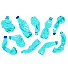 set rumpled plastic bottles plastic pollution vector image