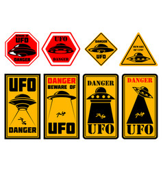 Set signs danger ufo zone sign with ufo vector