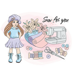 Sew for you cartoon clipart color vector