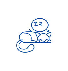 sleeping cat line icon concept sleeping cat flat vector image
