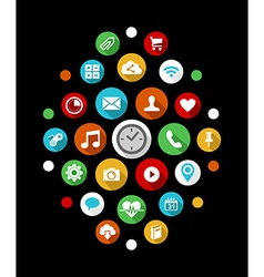 Smart watch app icons set in colorful 2d style vector image