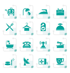 Stylized hotel and motel icons vector
