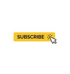 Subscribe button with mouse cursor minimal yellow vector