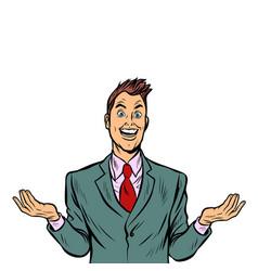Surprised joyful man vector