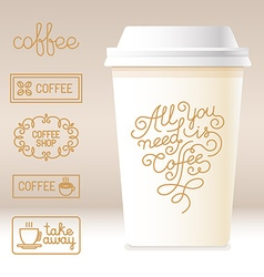 Take away coffee cardboard cup with linear design vector