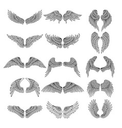 Tattoo design pictures of different stylized wings vector