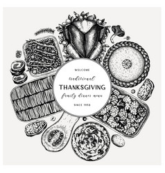 Thanksgiving day dinner menu round design vector