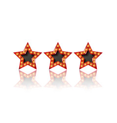 Three gold red stars on white background vector