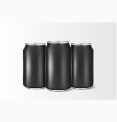 three realistic 3d empty glossy metal black vector image