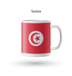 Tunisia flag souvenir mug on white background vector image