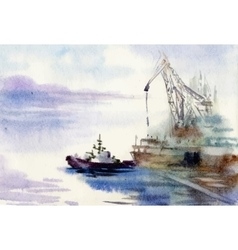 Watercolor industrial port vector image