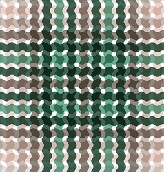 Wave tartan green brown gradient background vector image