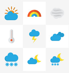 Weather flat icons set collection of temperature vector