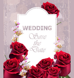 Wedding invitation with realistic roses vector